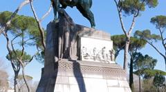 Monument to Umberto-I. Villa Borghese gardens, Rome, Italy. 4K Stock Footage