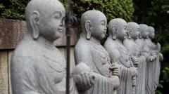Warriors Buddha. Buddhist monastery in Japan. Stock Footage