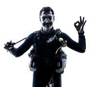 Man scuba diver diving silhouette isolated Kuvituskuvat