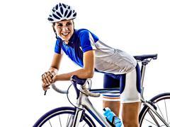 Woman triathlon ironman athlete cyclist cycling Stock Photos
