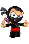 Sneaky Looking Ninja Character - stock illustration