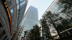 Canary Wharf and the Reuters building, Docklands, London - stock footage