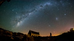 Milky Way And Aurora Australis, Church Of Good Shepherd Stock Footage