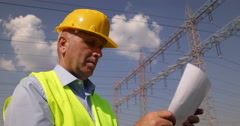 Electrical Engineer Checking Plan Verify Energy System Project High Electricity Stock Footage