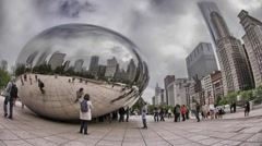 Chicago Cloud Gate Bean Millennium Park Timelapse Stock Footage