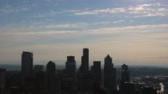 Seattle Panorama skyline from skyscraper Stock Footage