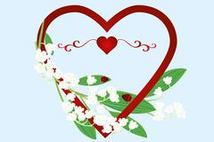 Beautiful card with heart, liekies of the valley flowers and ladybugs Stock Illustration