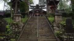 Stone stairs in ancient Shinto shrine Mitsumine. Japan. Chichibu. Saitama. Stock Footage