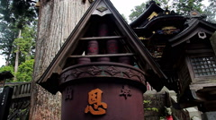 Copper vat in the temple Mitsumine. Japan. Chichibu. Saitama Stock Footage