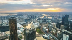 Aerial View Of Melbourne Cityscape During Sunset. Timelapse, Zoom Out Stock Footage