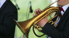 Trumpet cornet on stage. - stock footage