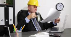 Architect Engineer Check Design Plan Drinking Coffe Tea Inspect Master Builder Stock Footage
