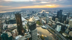 Stock Video Footage of Aerial View Of Melbourne Cityscape During Sunset. Timelapse, Static Cam