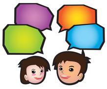 Boy and Girl Communication Speech Balloon Stock Illustration
