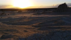 Lake Mungo Australian Outback Desert Landscape Sunset Stock Footage