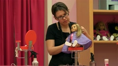 Doll Hair Salon in the American Girl Place store. Stock Footage