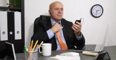 Businessman Listening Music Mobile Phone Headphone Office Business Man Resting Stock Footage