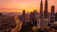 Kuala Lumpur Cityscape During Sunrise, Timelapse Stock Footage