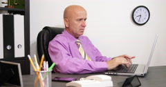 Busy Business Man Mature Age Person Laptop Texting Emails Typing Office Interior Stock Footage