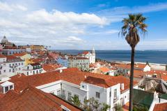 Lisbon rooftop from Portas do sol viewpoint - Miradouro in Portugal - stock photo