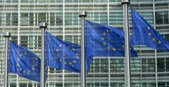 European Union EU blue flags flag europe europa euro waving wave close up row 4K Stock Footage