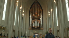 Interior of the Hallgrímskirkja Lutheran Church REYKJAVIK, ICELAND Stock Footage