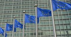 EU flags waving, Brussels. Stock Footage