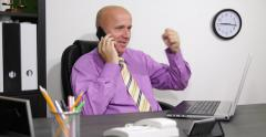 Happy Business Man Talking Mobile Phone Person Call Excited Deal Winner Job Done Stock Footage
