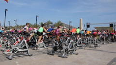 Indoor cycling marathon for health association benefits Stock Footage