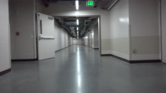 4K POV Walk Through Empty Shiny Hospital Basement Hallway ED Stock Footage