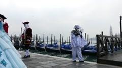 Venetian carnival, awaiting the sunrise. - stock footage