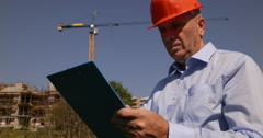 Construction Engineer Development Site Analyze Building Project Inspect Man Work Stock Footage