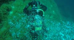 Bubbles from Scuba Diving in clear Gozo sea water Malta Stock Footage