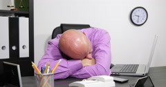 Tired Business Man Head Stress Problem Office Desk Sleeping Break Time Sleep Nap Stock Footage