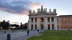 Basilica di San Giovanni in Laterano. Evening. Rome, Italy. 1280x720 Stock Footage