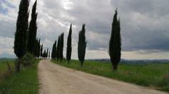 Biker dirt road runs through the Tuscan hills Arkistovideo