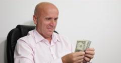 Happy Satisfied Man Counting American Dollars Bills Usd Banknote Wealth Salesman - stock footage