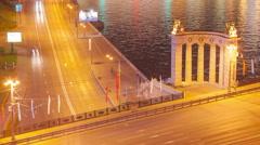Moscow bridge night traffic timelapse 4K Stock Footage