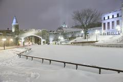 Quebec city landmark. Old fortress in winter.  Night scene from Quebec city - stock photo