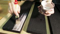 Process of Painting the Wooden Boards with the Brush 6 Stock Footage