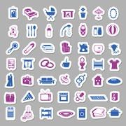 Family and home stickers Stock Illustration