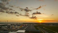 Sunset At KLIA Airport Terminal, Timelapse Pan Left Stock Footage