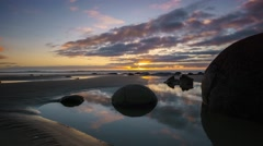 Beautiful Sunrise At Moeraki Boulders- Timelapse  Stock Footage