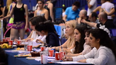 Jurors or sports referees in rhythmic gymnastics tournament Stock Footage