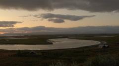 Sunset over south Iceland near REYKJAVIK Stock Footage