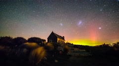 Magellani Clouds And Aurora Australis, Church Of Good Shepherd Stock Footage