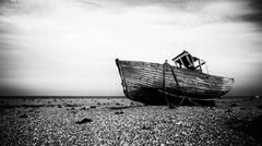 Derelict fishing boat - stock photo