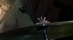 Drummer (large frame), and neck of the guitar Stock Footage