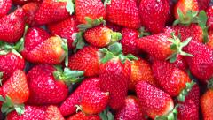 Fresh ripe perfect strawberry Food frame background Stock Footage