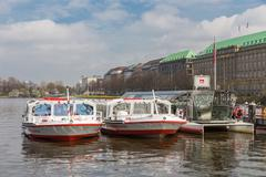 Sight seeing ships ready for departure in Hamburg, Germany - stock photo